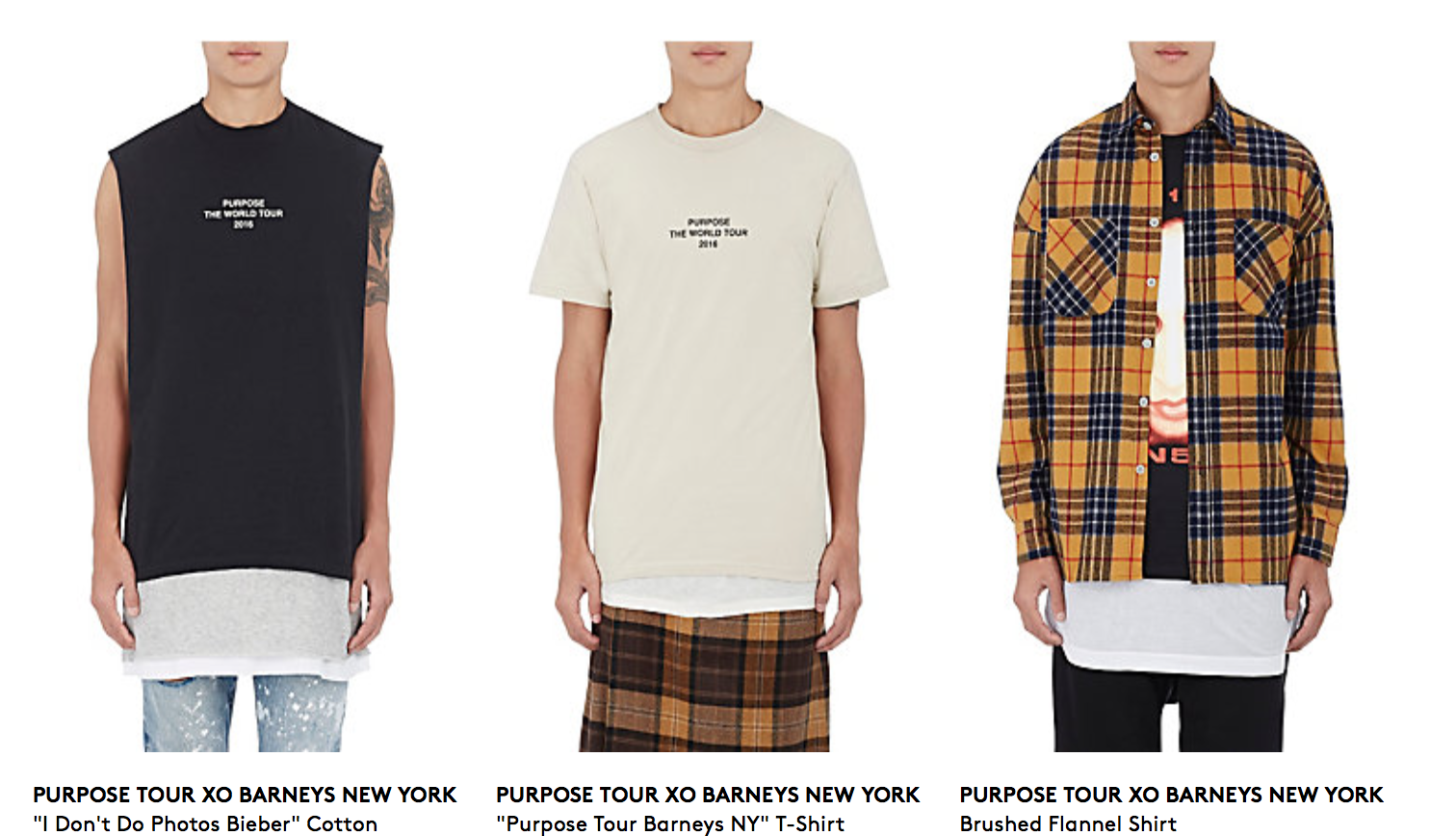 Justin Bieber collection exclusive barneys