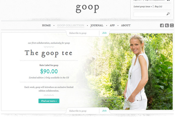 Gloop, le site de Gwyneth Paltrow